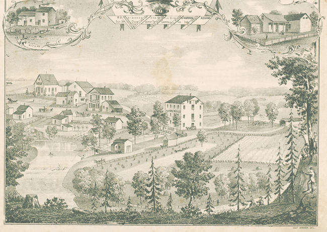 Birdseye View of Adams Mill and Bolivar 1874